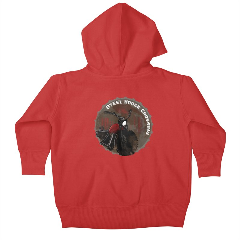Wisconsin - Steel Horse Crossing Kids Baby Zip-Up Hoody by Dystopia Rising's Artist Shop