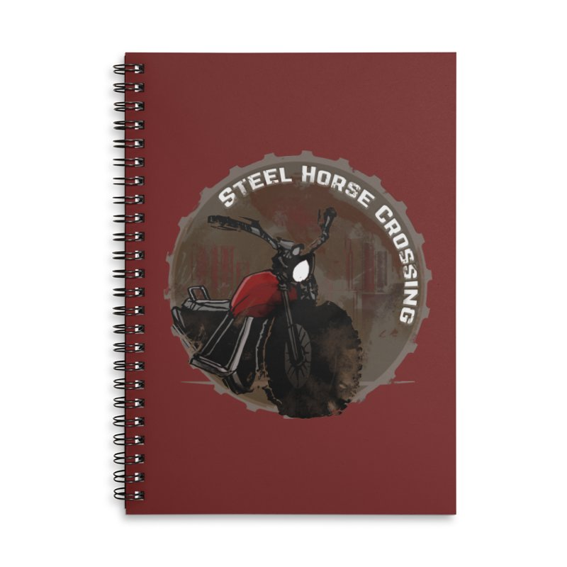Wisconsin - Steel Horse Crossing Accessories Lined Spiral Notebook by Dystopia Rising's Artist Shop