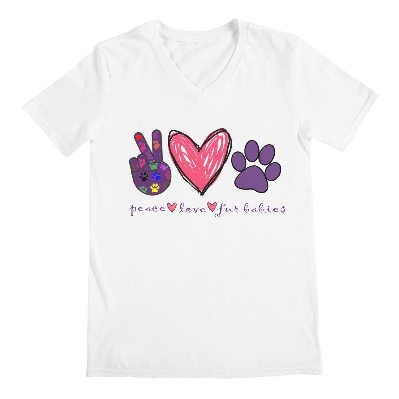 Peace Love Furbabies Men's V-Neck by East Alabama Humane Society's Shop