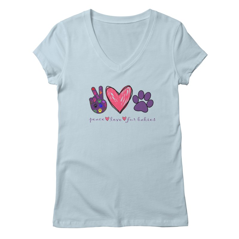 Peace Love Furbabies Women's V-Neck by East Alabama Humane Society's Shop