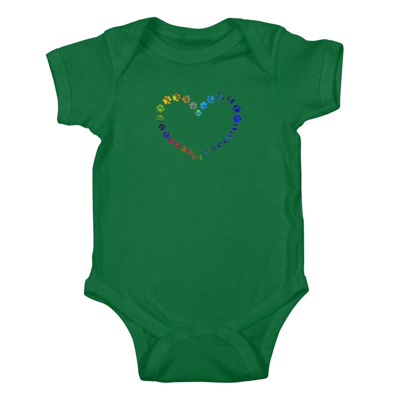 Paw Prints Heart Kids Baby Bodysuit by East Alabama Humane Society's Shop