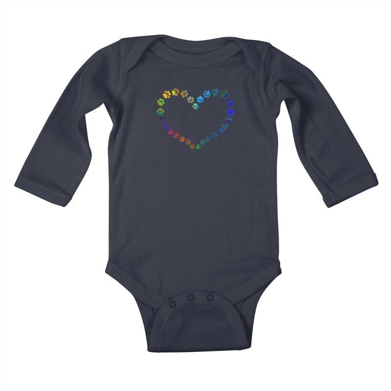 Paw Prints Heart Kids Baby Longsleeve Bodysuit by East Alabama Humane Society's Shop