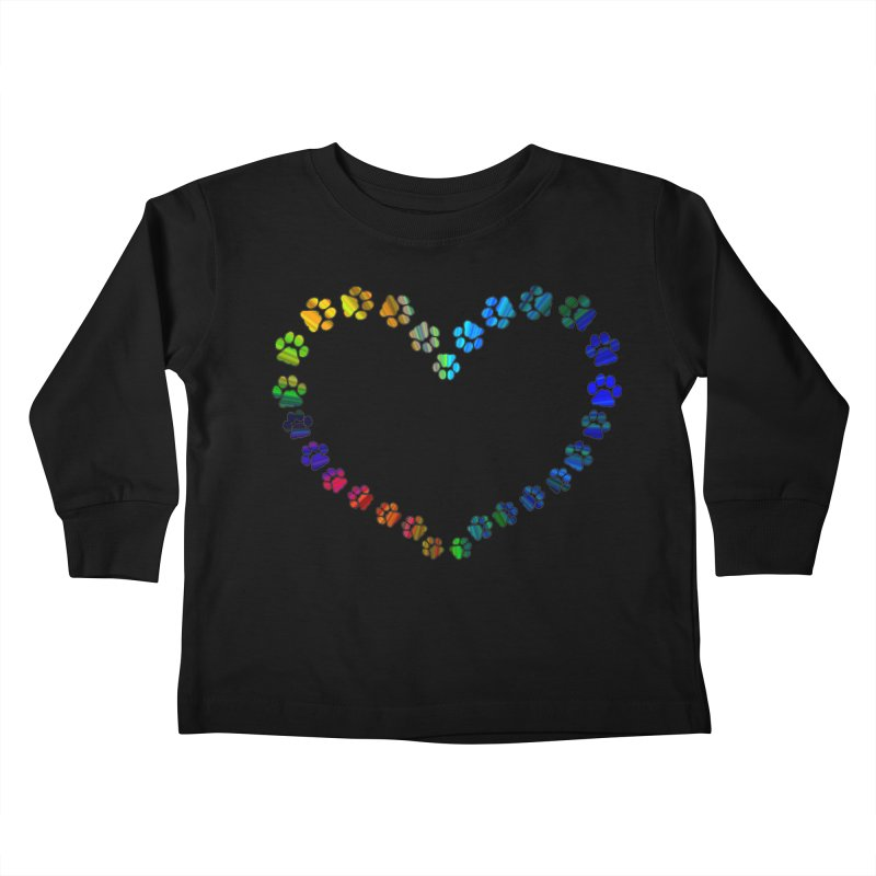 Paw Prints Heart Kids Toddler Longsleeve T-Shirt by East Alabama Humane Society's Shop