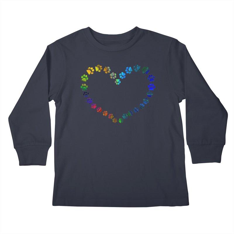 Paw Prints Heart Kids Longsleeve T-Shirt by East Alabama Humane Society's Shop