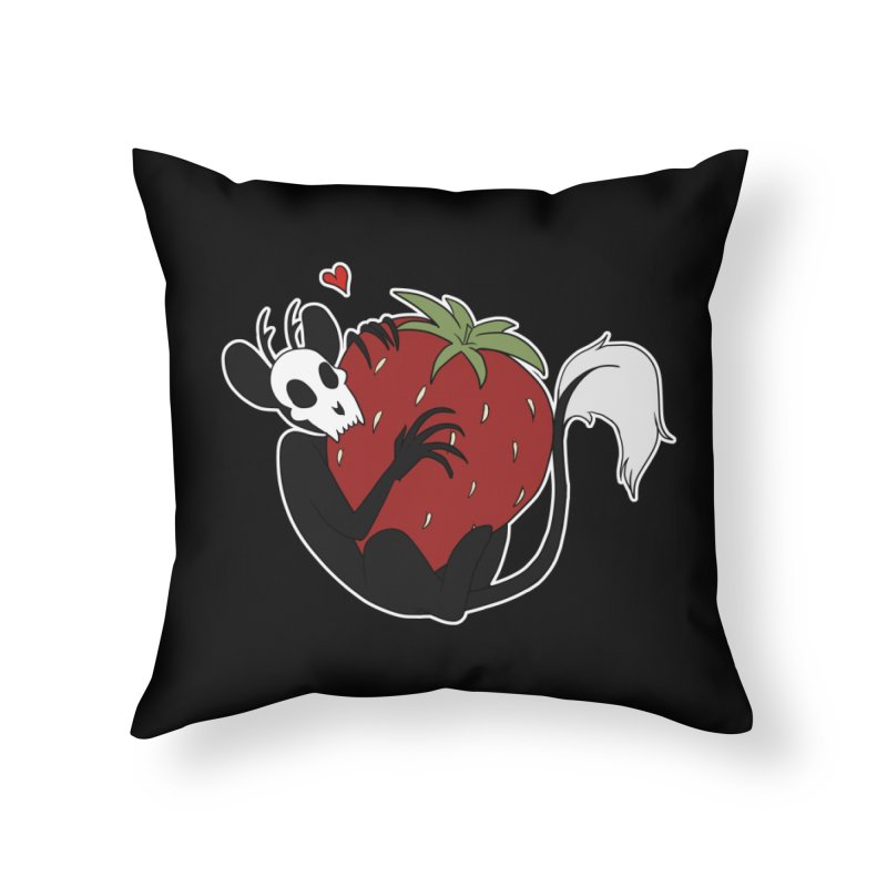 Eek's Strawberry Home Throw Pillow by EEKdraws's Artist Shop