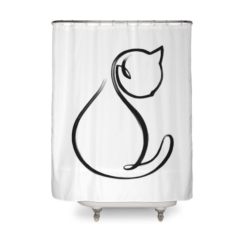 CAT MONOLINE Home Shower Curtain by ES427's Artist Shop