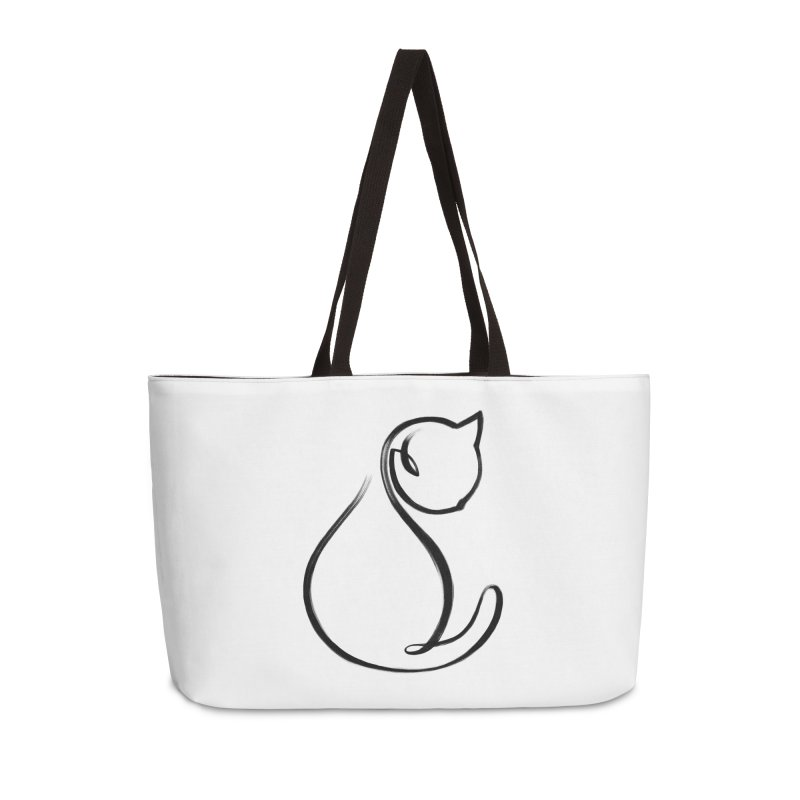 CAT MONOLINE Accessories Weekender Bag Bag by ES427's Artist Shop