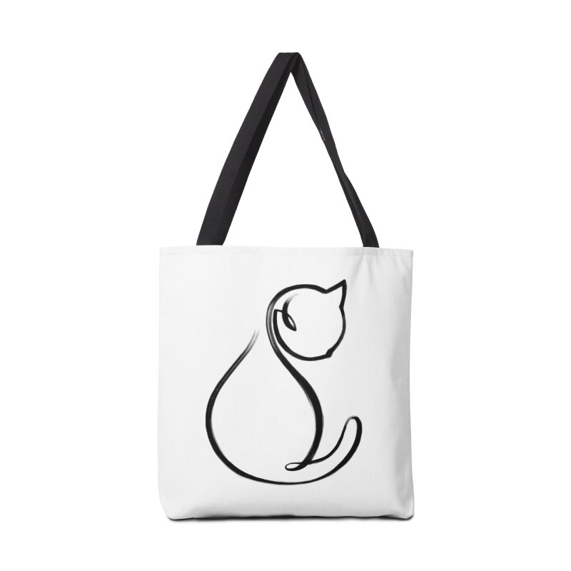 CAT MONOLINE Accessories Tote Bag Bag by ES427's Artist Shop