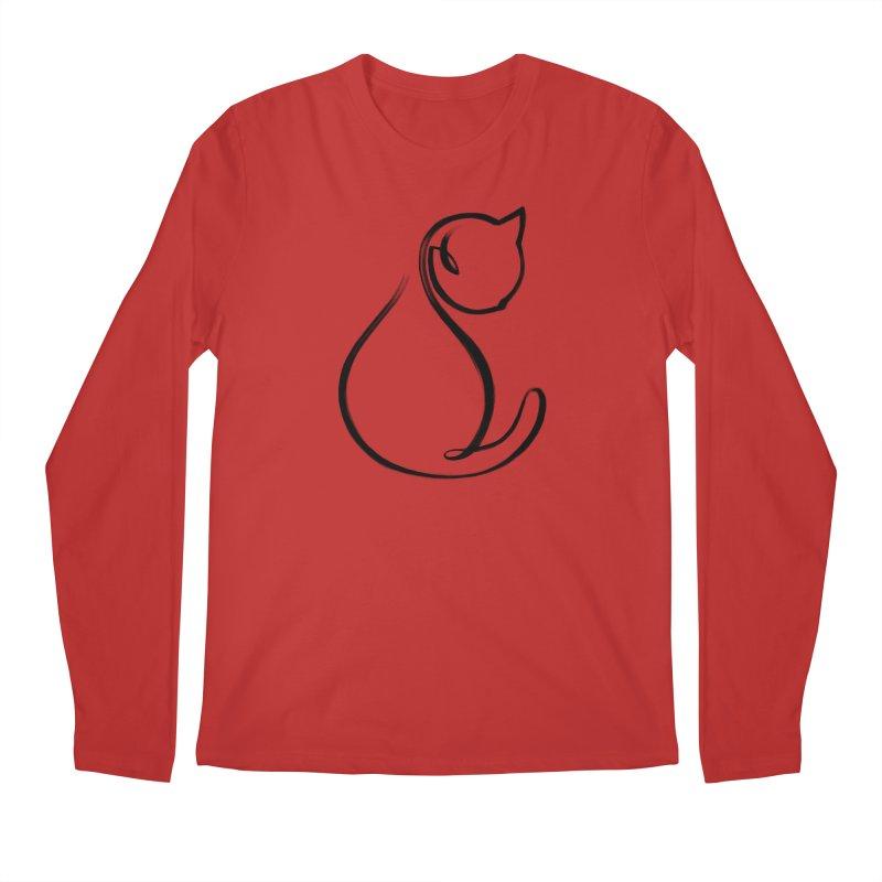 CAT MONOLINE Men's Regular Longsleeve T-Shirt by ES427's Artist Shop
