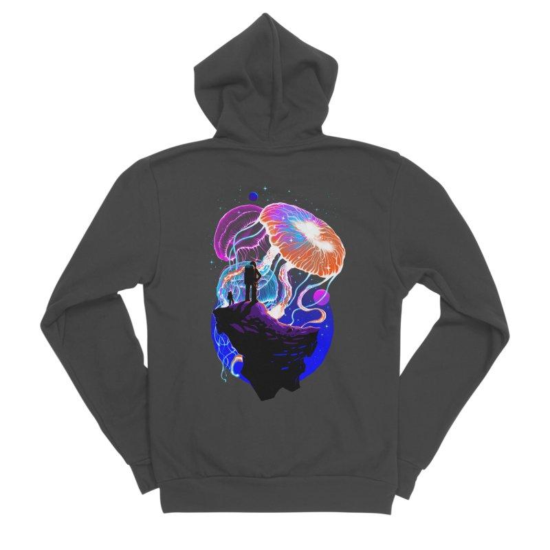 Exploration of the jellyfish planets Men's Sponge Fleece Zip-Up Hoody by ES427's Artist Shop