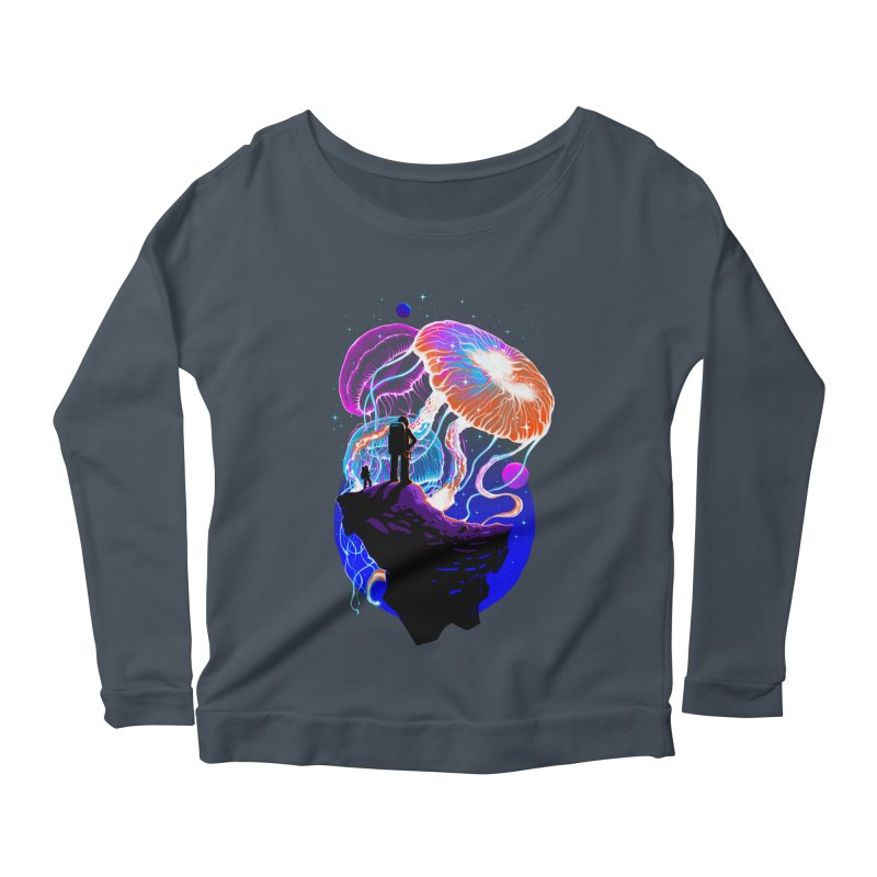 Exploration of the jellyfish planets Women's Scoop Neck Longsleeve T-Shirt by ES427's Artist Shop
