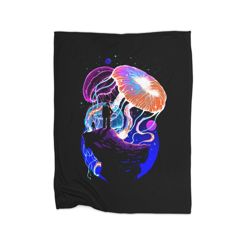 Exploration of the jellyfish planets Home Fleece Blanket Blanket by ES427's Artist Shop