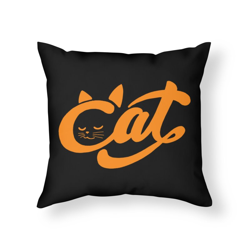 Sleeping Cat Home Throw Pillow by ES427's Artist Shop
