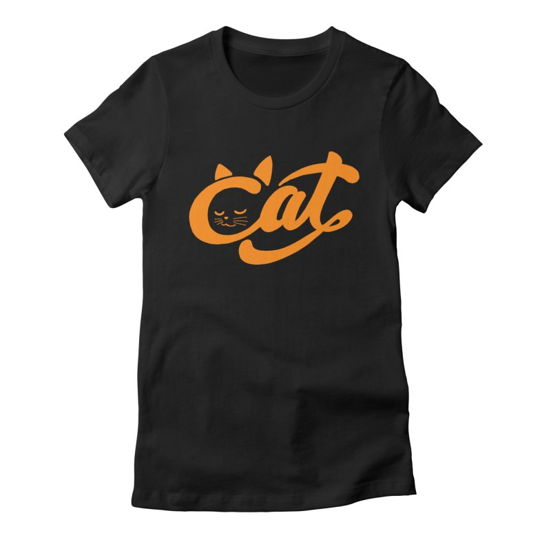 Sleeping Cat in Women's Fitted T-Shirt Black by ES427's Artist Shop