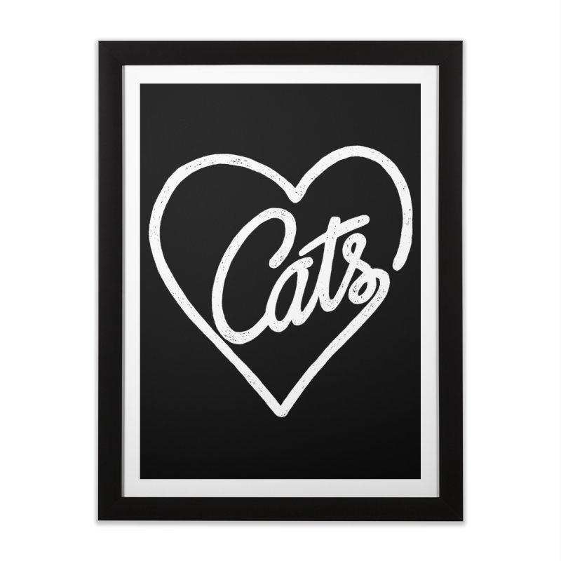 Lovecats(white) Home Framed Fine Art Print by ES427's Artist Shop