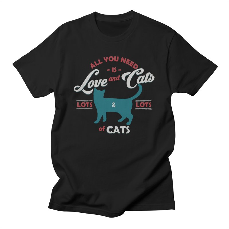 Love and Cats in Men's Regular T-Shirt Black by ES427's Artist Shop