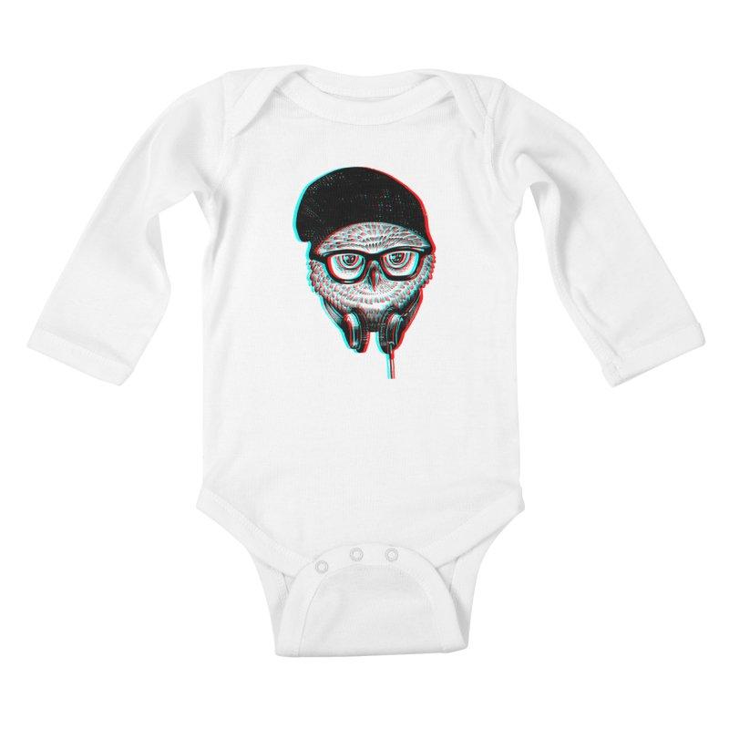 Hipster Owl Kids Baby Longsleeve Bodysuit by ES427's Artist Shop