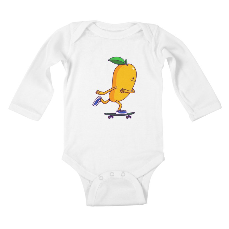 Skater Mango Kids Baby Longsleeve Bodysuit by ES427's Artist Shop