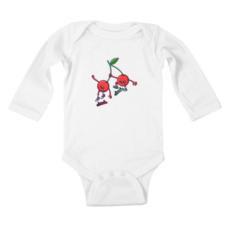 Skater Cherries Kids Baby Longsleeve Bodysuit by ES427's Artist Shop