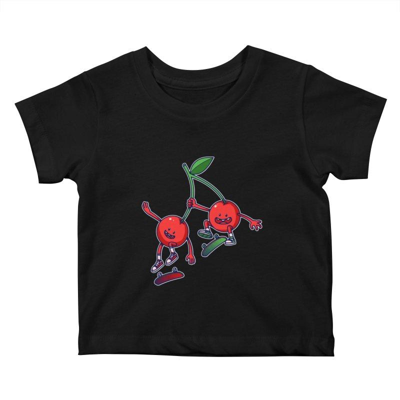 Skater Cherries Kids Baby T-Shirt by ES427's Artist Shop