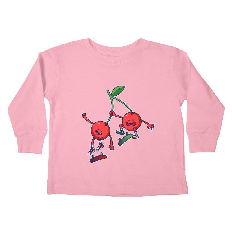 Skater Cherries Kids Toddler Longsleeve T-Shirt by ES427's Artist Shop