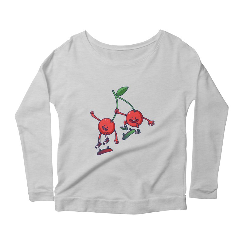 Skater Cherries Women's Longsleeve Scoopneck  by ES427's Artist Shop
