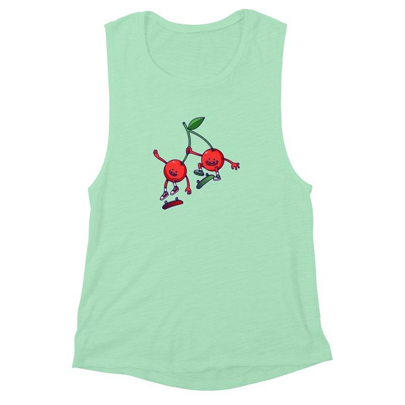 Skater Cherries Women's Muscle Tank by ES427's Artist Shop
