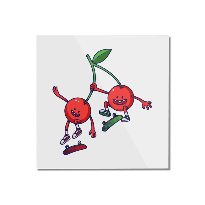 Skater Cherries Home Mounted Acrylic Print by ES427's Artist Shop