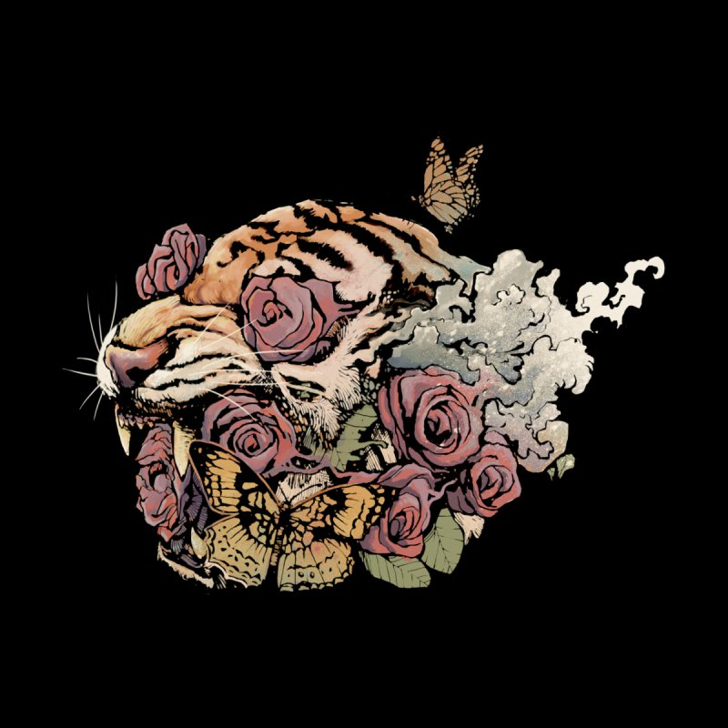 Tiger and Roses None  by ES427's Artist Shop