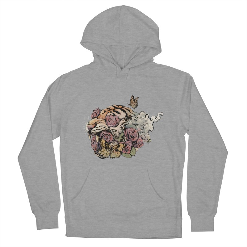 Tiger and Roses Men's Pullover Hoody by ES427's Artist Shop