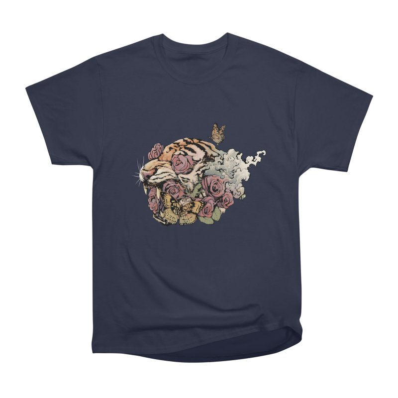 Tiger and Roses Men's Heavyweight T-Shirt by ES427's Artist Shop