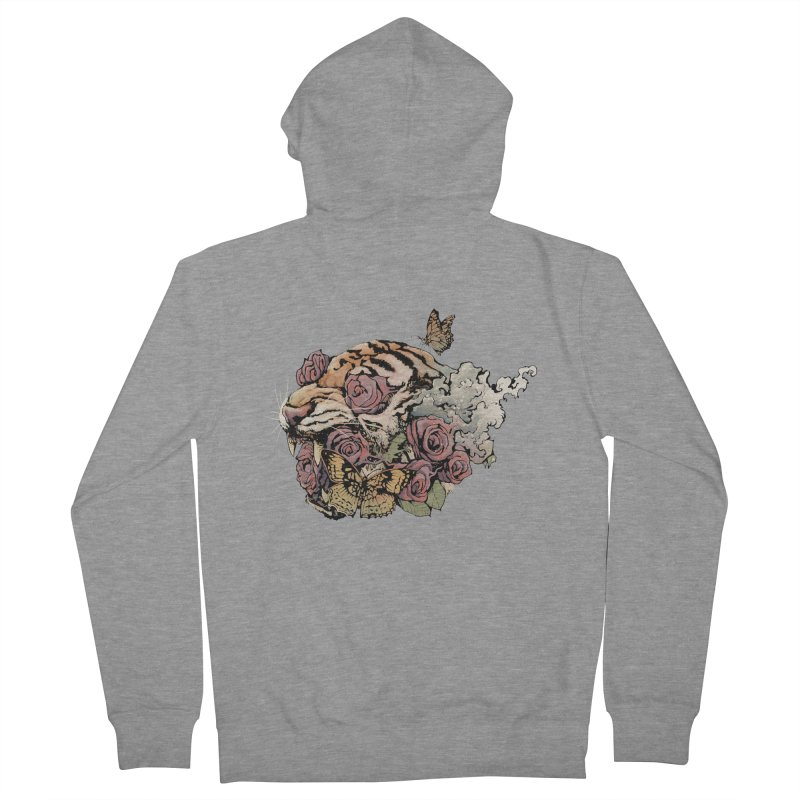 Tiger and Roses Women's Zip-Up Hoody by ES427's Artist Shop