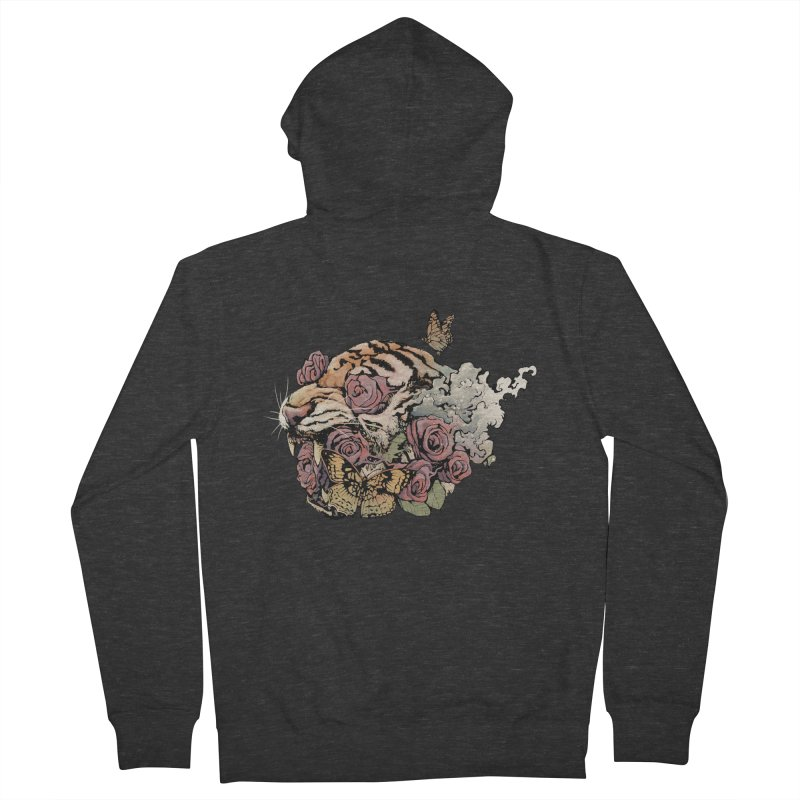 Tiger and Roses Men's Zip-Up Hoody by ES427's Artist Shop