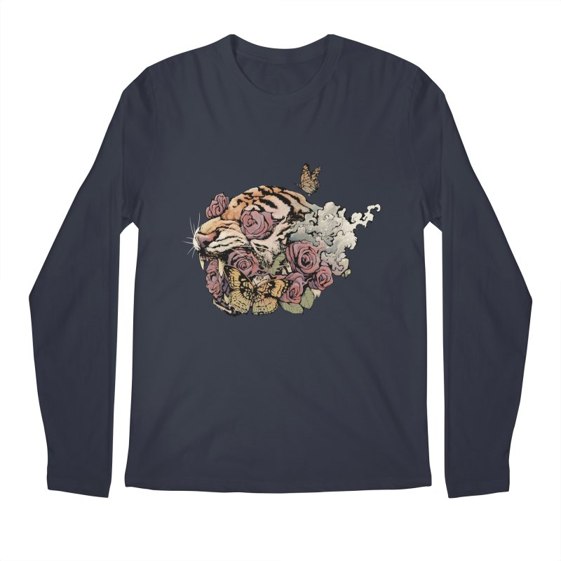 Tiger and Roses Men's Longsleeve T-Shirt by ES427's Artist Shop