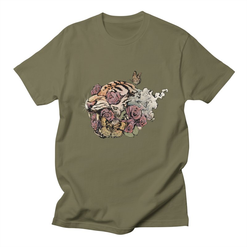Tiger and Roses Men's T-Shirt by ES427's Artist Shop