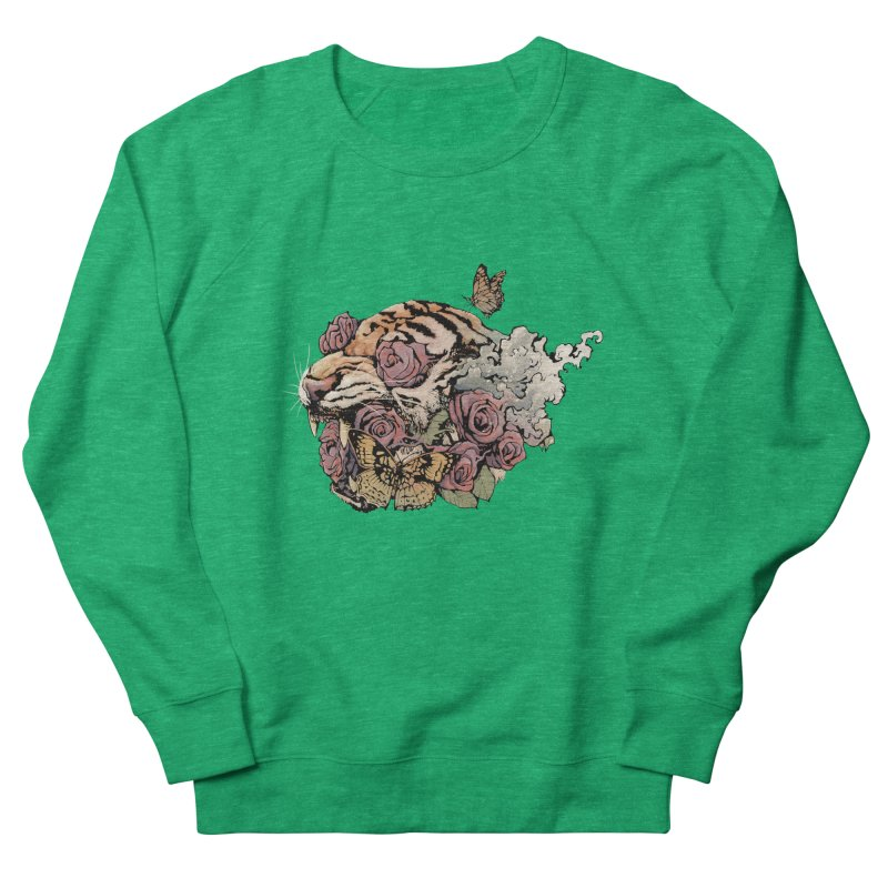 Tiger and Roses Men's Sweatshirt by ES427's Artist Shop