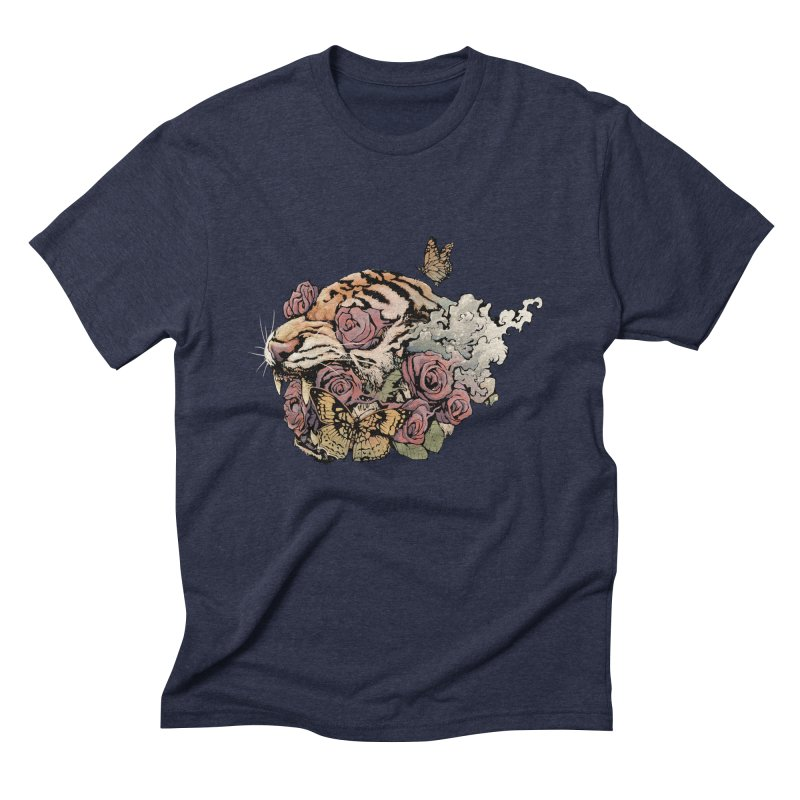 Tiger and Roses Men's Triblend T-Shirt by ES427's Artist Shop