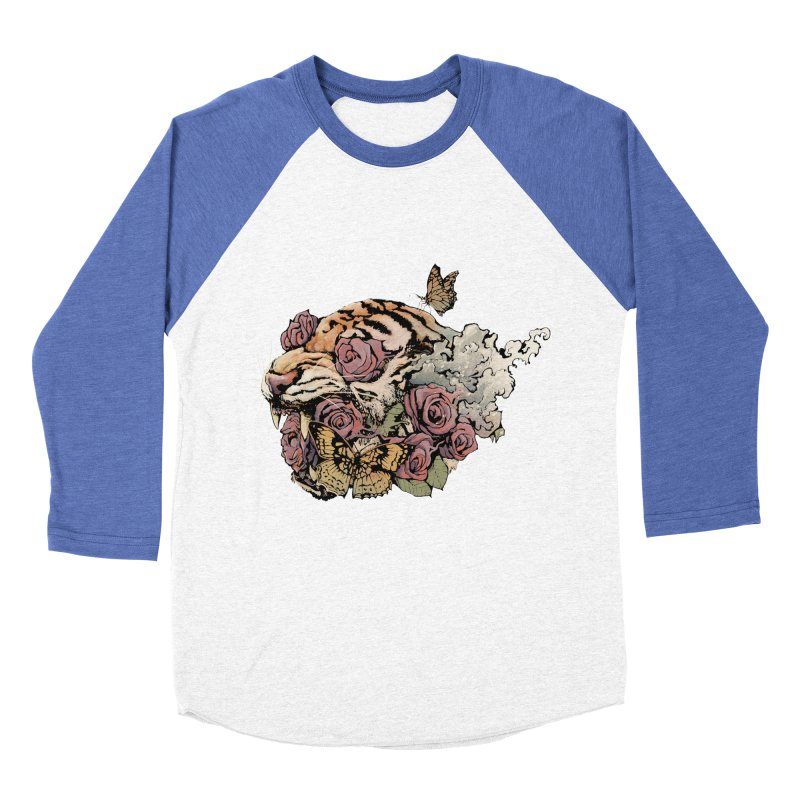 Tiger and Roses Women's Baseball Triblend T-Shirt by ES427's Artist Shop