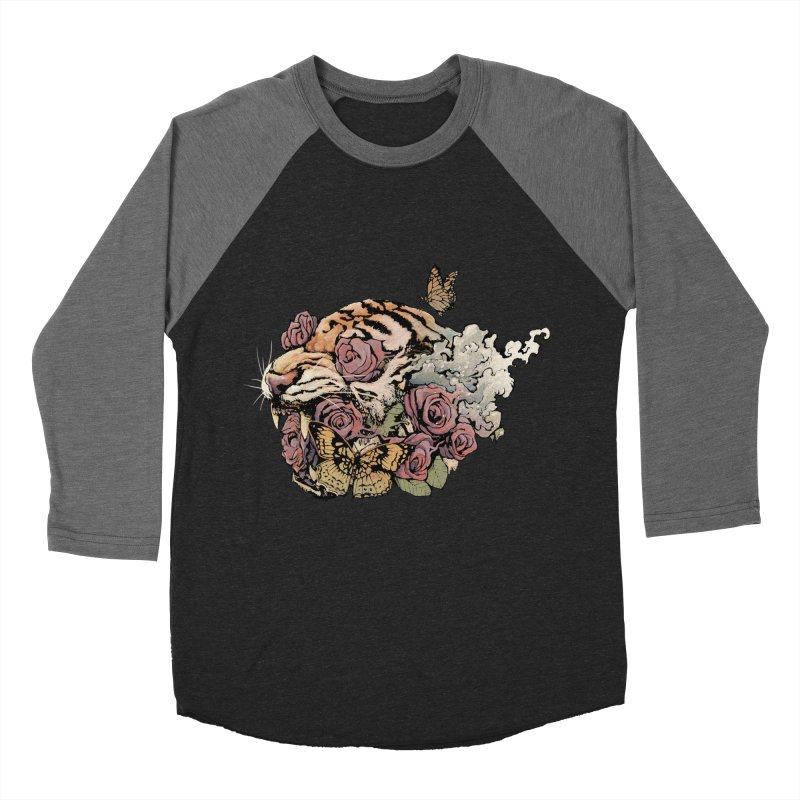 Tiger and Roses Men's Baseball Triblend T-Shirt by ES427's Artist Shop