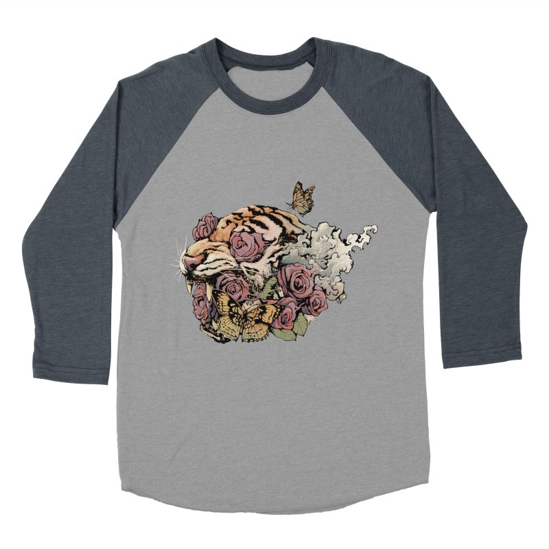 Tiger and Roses Men's Baseball Triblend T-Shirt by ES427's Artist Shop