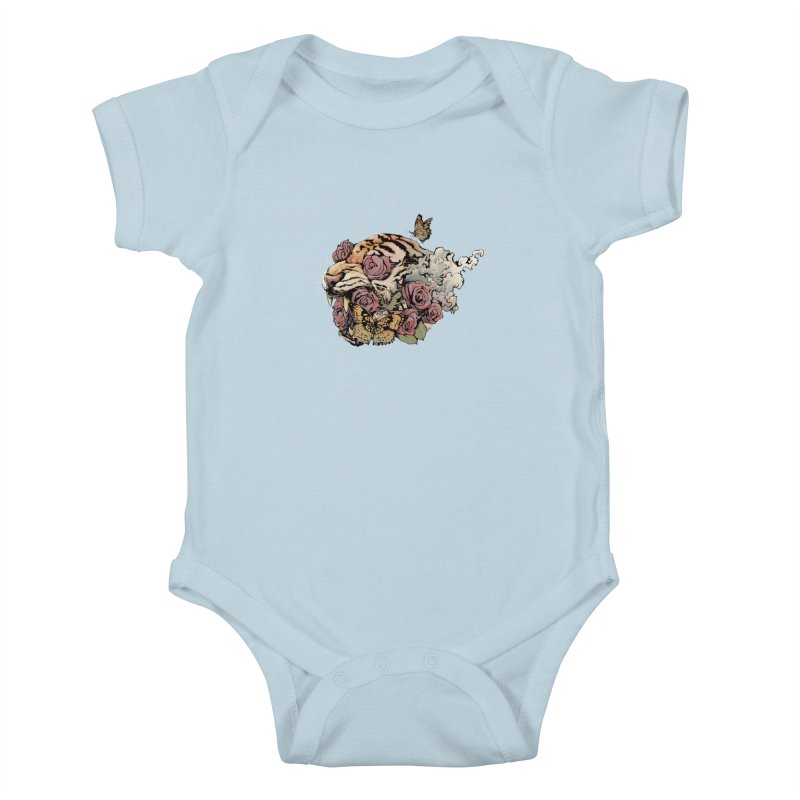 Tiger and Roses Kids Baby Bodysuit by ES427's Artist Shop