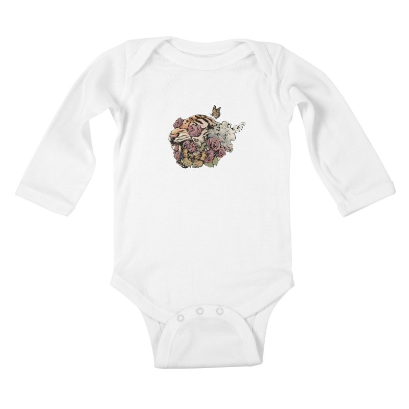 Tiger and Roses Kids Baby Longsleeve Bodysuit by ES427's Artist Shop