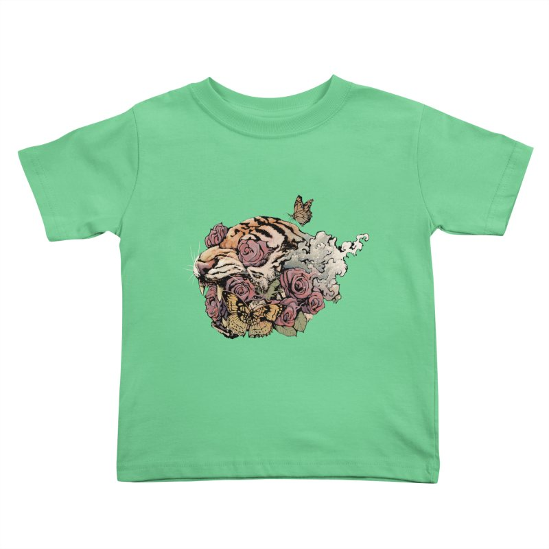 Tiger and Roses Kids Toddler T-Shirt by ES427's Artist Shop