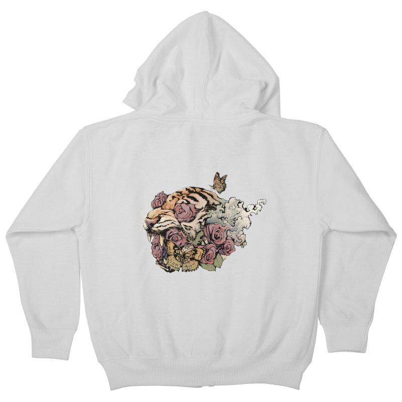 Tiger and Roses Kids Zip-Up Hoody by ES427's Artist Shop