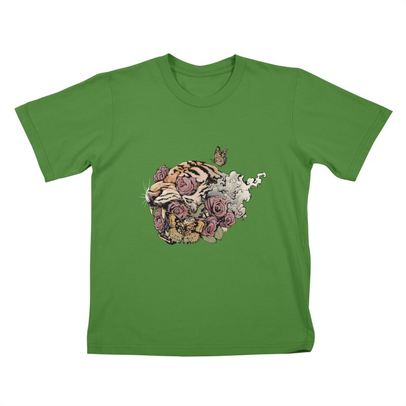 Tiger and Roses Kids T-Shirt by ES427's Artist Shop