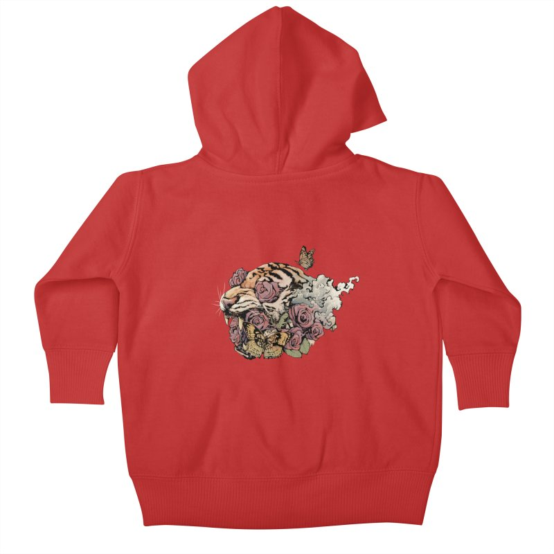 Tiger and Roses Kids Baby Zip-Up Hoody by ES427's Artist Shop