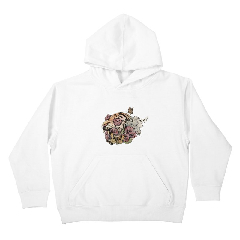 Tiger and Roses Kids Pullover Hoody by ES427's Artist Shop