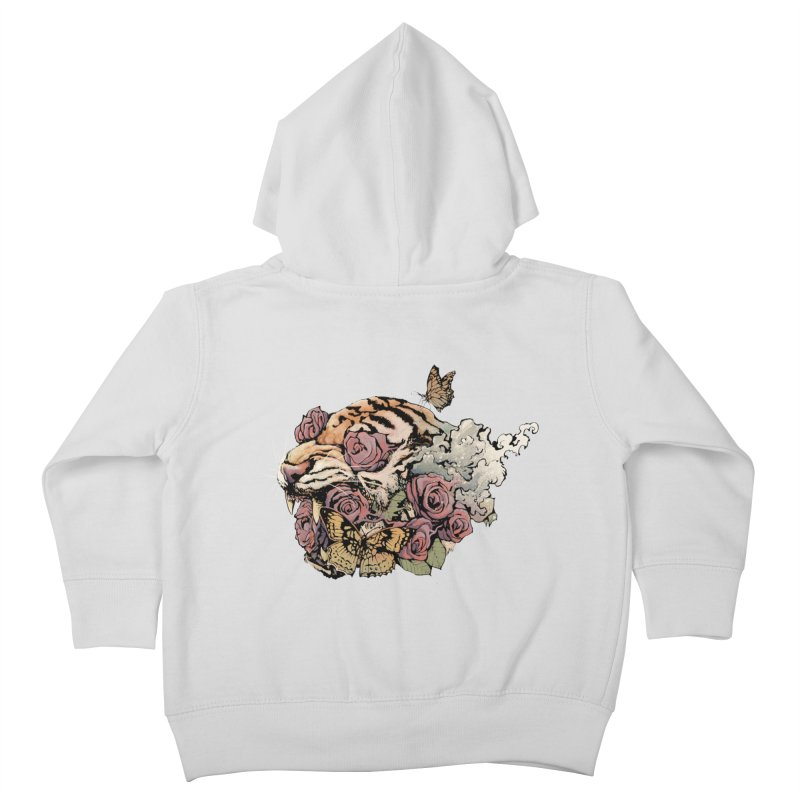 Tiger and Roses Kids Toddler Zip-Up Hoody by ES427's Artist Shop