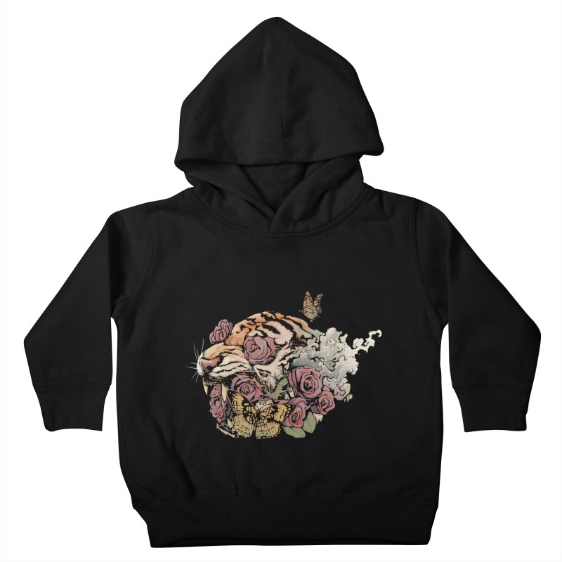 Tiger and Roses Kids Toddler Pullover Hoody by ES427's Artist Shop
