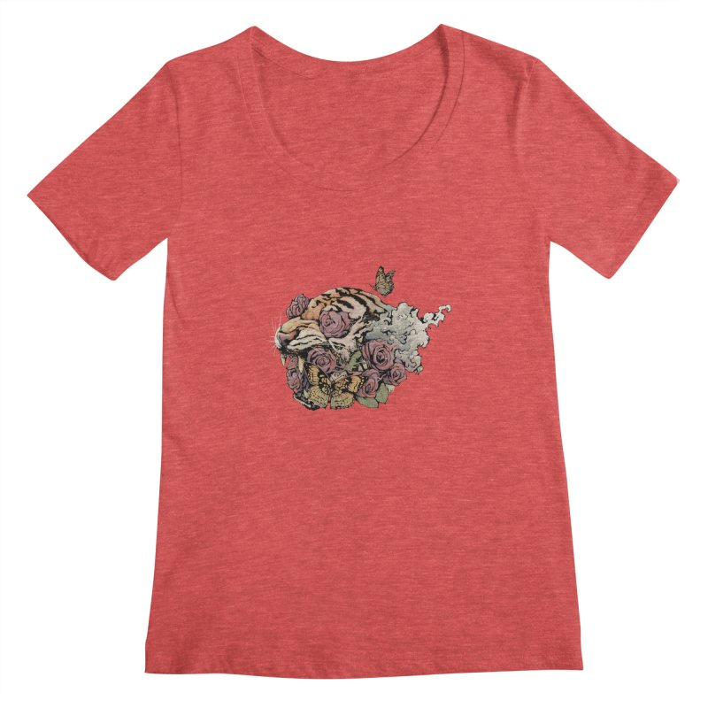 Tiger and Roses Women's Scoopneck by ES427's Artist Shop